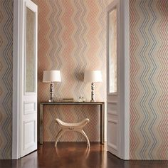 Tresillo wallpaper by Harlequin features a textured multi-coloured chevron wallcovering enjoying either a matt metallic or moody grey ground. Stripe Line Wallpaper, Harlequin Wallpaper, Geometric Wallpaper, Harlequin Fabrics, Marimekko Wallpaper, Fabric Wallpaper, Wall Wallpaper, Home Interior, Interior Design