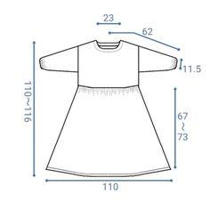 出来上がり寸法です。 バスト、ウエストは112cmになります。 Clothing Patterns, Sewing Patterns, Handmade Notebook, Dressmaking, Free Pattern, Womens Fashion, How To Make, Blog, Shopping