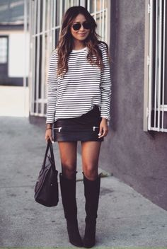Spring Outfit - Skirt, boots & sweater