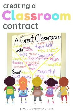 Teachers can build student social responsibility and encourage good behavior by creating a classroom contract using children's ideas about what a great classroom should be. Helpful anchor chart idea and FREE printable included! #classroommanagement #teacherfreebie #classroom #socialresponsibility #classroomrules Classroom Contract, Social Contract, Classroom Management Strategies, Classroom Rules, Future Classroom, Classroom Activities, Behavior Management, Classroom Ideas, Responsive Classroom