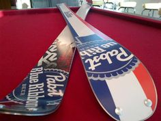 Limited edition K2 PBR beer skis, red white and blue. Pabst Blue ...
