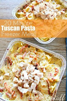 Looking for a quick delicious easy meal? These 20 Minute Tuscan Pasta (Freezer Meal) is quick, easy, and one of our new family favorites! I'm telling you- you need to try this!      5.0 from 2 reviews