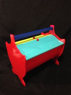 Rut Ro!  Antique Wooden Sewing Basket/Box Dolled-Up & Modernized w/COLOR! by byRQ on Etsy