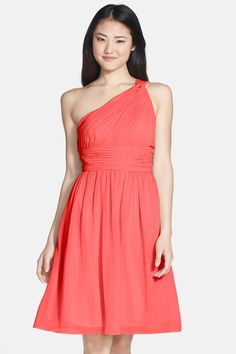 'Rhea' One-Shoulder Chiffon Dress by Donna Morgan on @nordstrom_rack