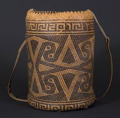 Ajat basket, Penan people. Borneo 20th century, 20 (cm) diameter by 30 (cm) height. Photograph by D Dunlop. From the library of WikiMechanics.org.