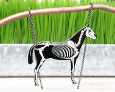 horse skeleton necklace with reversible chevron stripe day of the dead skull
