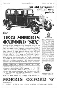 Morris Oxford Six 6 Motor Car Autocar Advert 1931 Morris Oxford, Automobile, Car Advertising, Custom Vans, Car Painting, Commercial Vehicle, Retro Cars, Vintage Ads, Car Accessories