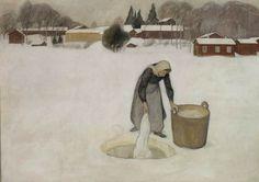 Pekka Halonen (Finnish, 1865 - 1933) - Washing on the Ice, 1900
