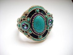 Girly Cuff  Bead Embroidery Bracelet Cuff by PreciousHeartBeads, $95.00