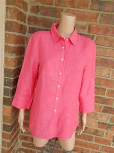 TALBOTS 100% Irish Linen Blouse Size 14 Women Shirt Top 3/4 SleevePink #Talbots #Blouse #Casual