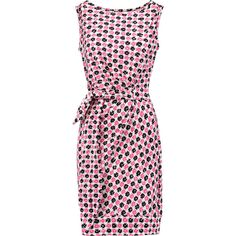 Diane von Furstenberg Della wrap-effect printed cotton and silk-blend... (55.295 HUF) ❤ liked on Polyvore featuring dresses, fuchsia, slimming dresses, diane von furstenberg dress, fuschia pink dress, pink wrap dress and wrap tie dress