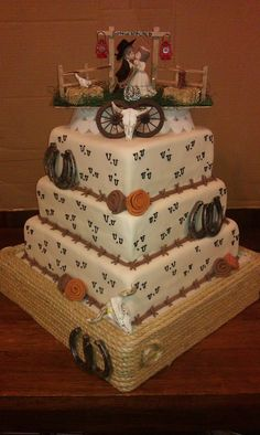 Western Theme Wedding Cake | Western theme, Vow renewal cake and ...