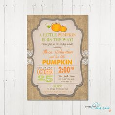 Pumpkin Baby Shower Invitation Fall Baby Shower by StyleswithCharm, $12.00
