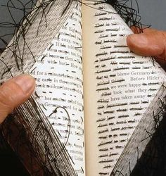 Can do redacted poetry, too - just stitch through all the words you don't want (instead of marking them out) Stitched altered book - Lisa Kokin Paper Book, Paper Art, Altered Book Art, Book Sculpture, Art Textile, Up Book, Book Journal, Journals, Notebooks