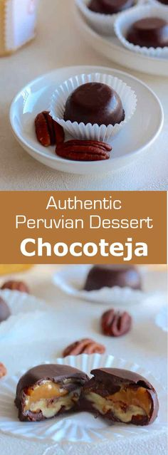 Chocotejas are traditional Peruvian chocolate truffles that are filled with dulce de leche and fruits or dried fruits such as pecans. #dessert…