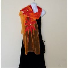 Nunofelted scarf, long scarf, light,airy, silk scarf, orange, red,... ($49) ❤ liked on Polyvore featuring accessories and scarves