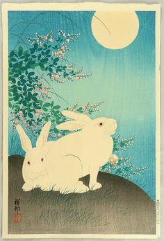 Ohara Koson: Rabbits and the Moon - 1933