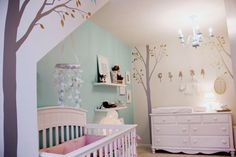 Light and airy nursery. Love the vintage mirrors. Girly but not toooo girly.