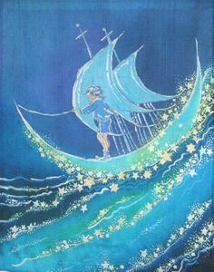 """Sailing the Moon by Laura Elderton – Dupioni silk wall hanging (inspired by a 1900 pen and ink drawing)   """"SilkinArt"""" www.etsy.com/shop/lauraelderton"""
