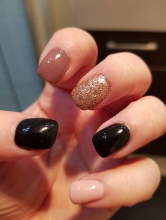 New short square nails with one rose gold sugar nail