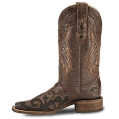 Corral Lizard Inlay Cowgirl boots - Square Toe