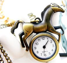 Cartoon Horse bronze pocket watch necklaceV107 by XsisterJewelry, $6.99