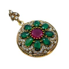 Silvesto India Ruby, Emerald And Topaz (Lab) Gemstone 925 Sterling Silver Bronze Turkish pendant pg-7019  https://www.amazon.de/dp/B01H3KKZG8