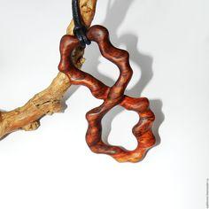 """Купить Кулон из дерева """"Суматра"""" (мраморное дерево) - комбинированный, кулон из дерева, Кулон ручной работы"""