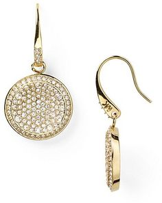 Michael Kors Concave Pave Drop Earrings in Gold - Lyst
