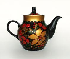 Vintage Black Teapot Khokhloma / Hand Painted  Russian Folk Art. $21.00, via Etsy.