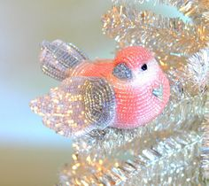Christmas Ornament Bird Clip -On Beaded Silver and Pink Love Bird Beaded Art by Meredith Dada. $68,00, via Etsy.