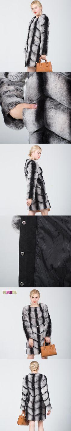 New Fashion Chinchilla Fur Coat For Women Genuine Fur Outerwear Thickening Ladies Natural Fur Overcoat Real Rex Rabbit Fur Coats
