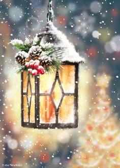 Christmas Scenery, Christmas Artwork, Christmas Lanterns, Christmas Drawing, Noel Christmas, Christmas Paintings, Christmas Wallpaper, Christmas Pictures, Winter Christmas
