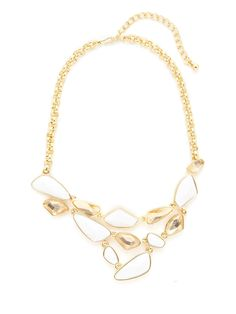 Geometric White & Clear Resin Bib Necklace by Kenneth Jay Lane at Gilt