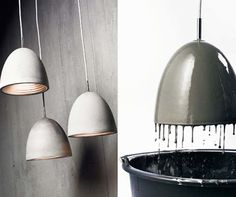Concrete-dipped lamp shades