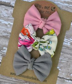 Pretty in Pink Hair Bow Clip set - 3 coordinating small hair bow clips; grey, light pink, and floral patterned fabric hair bows.