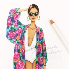 I woke up like this... 😂☀️👙💦 JK, in reality I'm setting up for @grandbazaarnyc TODAY! There's a huge food festival here, so skip brunch and bring all your besties! 10:00am - 5:30pm at 77th and Columbus in Manhattan!! 💗💗#fashionillustration #poolside #summertime #artist #weekend #sunday #weekendvibes #joannabaker #happysummer #swimsuit #floral #iwokeuplikethis