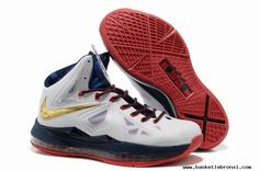 For Wholesale Nike LeBron 10 X White Navy Gold 541100-001