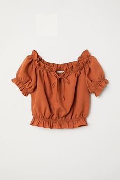 Off-the-shoulder Blouse - Rust - Ladies Cute Comfy Outfits, Girly Outfits, Pretty Outfits, Indian Blouse Designs, Teen Fashion Outfits, Outfits For Teens, Crop Top Outfits, Cute Crop Tops, Cute Blouses