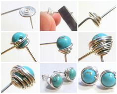 Free DIY: How to Wire Wrapped Bead Stud Earrings! See step by step tutorial featured in recent Sova-Enterprises.com Newsletter!