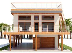 Modern style two story house With an open-air deck and ground floor Coastal House Plans, Beach House Plans, New House Plans, Modern House Plans, House Floor Plans, Stilt House Plans, House On Stilts, House Roof, Garage Guest House