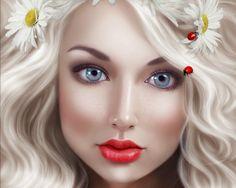 Ladybugs - shinyshadowsart, fantasy, beauty, luminos, ladybug, face, girl, flower, woman, red, lips, daisy, blonde