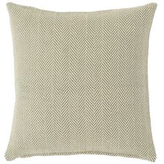 """With an ocean-and-sand-hued herringbone pattern and durable PET construction, this indoor/outdoor throw pillow is a seaside dream in the living room or on the porch.   • 100% PET shell; 100% polyester fill.  • 22"""" x 22""""."""