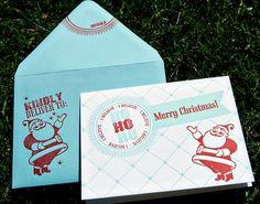 Card with Merry Christmas Letterpress Santa. $5.50, via Etsy.
