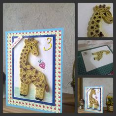 papercrafts: Quilled Baby Giraffe ,Birthday Card