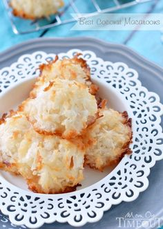 Best Coconut Macaroons EVER! Perfectly toasted on the outside and chewy in the center. | http://MomOnTimeout.com | #coconut #recipe #candy