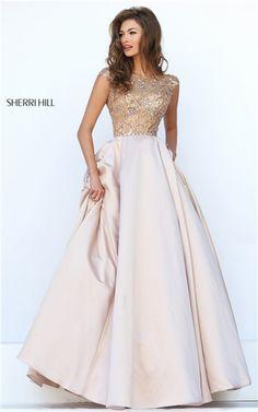 Sherri Hill 32359 Nude Beaded Cap Sleeves V-Back Long Prom Dresses 2016