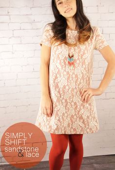 Simply Shift Free Pattern: Dressy Frock in Sandstone and Lace