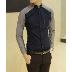 Korean Style Shirt Collar Chic Clipping Color Block Long Sleeves Men's Polyester Shirt (NAVY,M) | Everbuying.com
