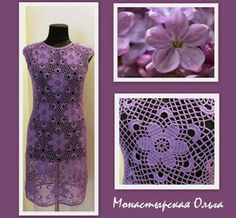 Beautiful purple dress. Close up and diagram for motif here